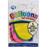 Balloons Giant Pk5 (Assorted Colours)