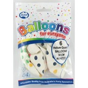 Standard White AOP 30cm Latex Balloons with Multicoloured Dots Pk 6