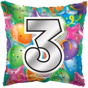 Number 3 Bright Balloons 18in. Square Foil Balloon Pk 1