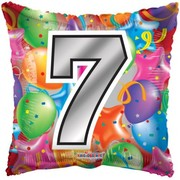 Number 7 Bright Balloons 18in. Square Foil Balloon Pk 1