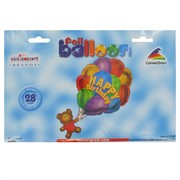 Balloon Foil Supershape Birthday Bear With Balloons Pk1