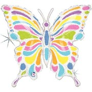 Holographic Butterfly Supershape Foil Balloon (33in-83cm) Pk 1