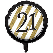 Black & Gold 21st Birthday 18in. Foil Balloon Pk 1