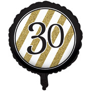 Black & Gold 30th Birthday 18in. Foil Balloon Pk 1