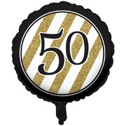 Black & Gold 50th Birthday 18in. Foil Balloon Pk 1