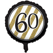 Black & Gold 60th Birthday 18in. Foil Balloon Pk 1