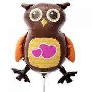 Owl on Stick 14in Mini Foil Balloon Pk 1
