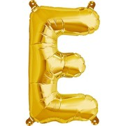 Small Gold Letter E 16in. Foil Balloon Pk 1 (Air Inflation Only / Stick & Cup Not Included)