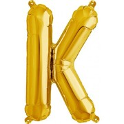 Small Gold Letter K 16in. Foil Balloon Pk 1 (Air Inflation Only / Stick & Cup Not Included)