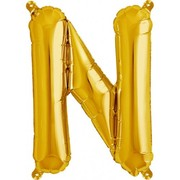 Small Gold Letter N 16in. Foil Balloon Pk 1 (Air Inflation Only / Stick & Cup Not Included)