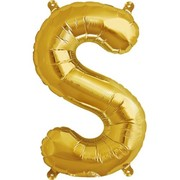Small Gold Letter S 16in. Foil Balloon Pk 1 (Air Inflation Only / Stick & Cup Not Included)