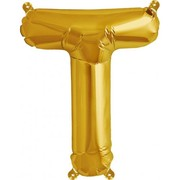 Small Gold Letter T 16in. Foil Balloon Pk 1 (Air Inflation Only / Stick & Cup Not Included)