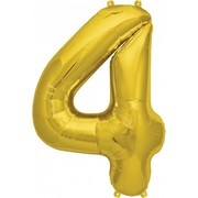 Small Gold Number 4 16in. Foil Balloon Pk 1 (Air Inflation Only / Stick & Cup Not Included)