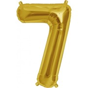 Small Gold Number 7 16in. Foil Balloon Pk 1 (Air Inflation Only / Stick & Cup Not Included)