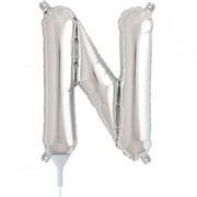 Small Silver Letter N 16in. Foil Balloon Pk 1 (Air Inflation Only / Stick & Cup Not Included)