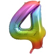 Rainbow Splash Number #4 Supershape 34in. (86cm) Foil Balloon Pk 1