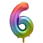 Rainbow Splash Number #6 Supershape 34in. (86cm) Foil Balloon Pk 1