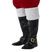 Christmas Santa Black Boot Covers with Gold Buckle (1 Pair)