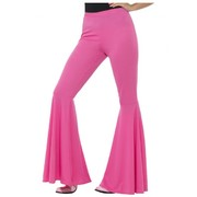 Adult Woman Flared Pink Hippie Trousers Costume (Medium - Large) Pk 1