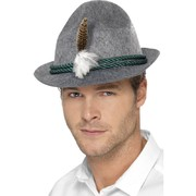Oktoberfest Grey German Trenker Hat with Feather Pk 1