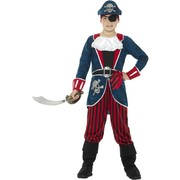 Child Deluxe Blue Pirate Captain Costume (Small, 4-6 Years)