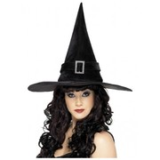 Halloween Adult Black Witch Hat with Buckle Pk 1
