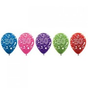 50 Multi AOP Metallic Latex Balloons Pk 50