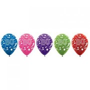 80 Multi AOP Metallic Latex Balloons Pk 50