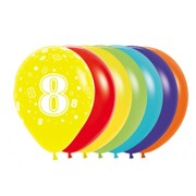 8 Multi AOP Latex Balloons Pk 10