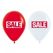 Red & White Sale Double Sided Standard Latex Balloons Pk 50