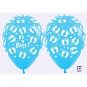 Blue Baby Shower Latex Balloons with White Baby Feet Print Pk 50