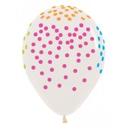 Crystal Clear 30cm Latex Balloons with AOP Neon Multi Dots Pk 50
