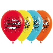 Comic Print Multi Happy Birthday Latex Balloons Pk 10