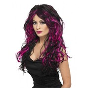 Halloween Purple/Pink & Black Long Gothic Bride Wig Pk 1