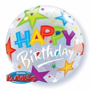 Happy Birthday Brilliant Stars Bubble Balloon (22in.) Pk 1