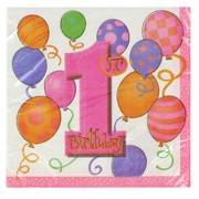 1st Birthday Party Napkins - Lunch Balloons Pink Pk16