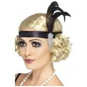 20's Flapper Black Charleston Headband with Feather Pk 1 (Headband Only)
