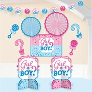 Girl or Boy Room Decorating Kit (Centrepieces, Cutouts, Garland & Fans)