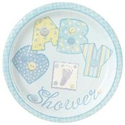 Blue Baby Shower 9in Plates Pk 8