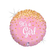 It's A Girl Pink 18in. Foil Balloon with Gold Glitter Pattern Pk 1