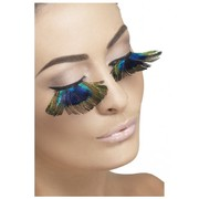 Peacock Feather Eyelashes With Adhesive (1 Pair)
