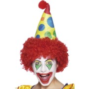 Clown Hat With Hair Red Pk 1