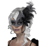 Dark Angel Black & Silver Masquerade Mask with Glitter & Feather Pk 1