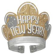 Gold & Silver Bubbly New Year's Glitter Tiara Pk 1