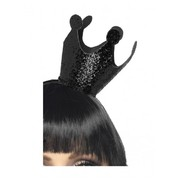Black Glitter Evil Queen Crown on Headband Pk 1