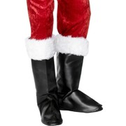 Santa Costume - Black Boot Covers with White Trim Pk 2
