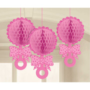 It's A Girl Pink Glittered Hanging Honeycomb Rattle Decorations Pk 3