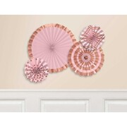 Assorted Pink & Foil Rose Gold Hanging Paper Fan Decorations Pk 4