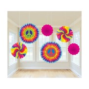 Groovy Hippie Assorted Paper Fans Pk 6