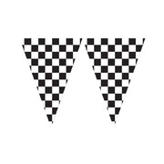 Giant Black & White Check Pennant Flag Banner (6m) Pk 1